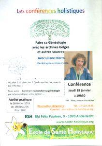 Conférence Anderlecht 2018 - Faire sa Généalogie avec ls archives belges et autres sources